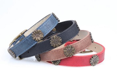 chrysanthemum leather pet collars for medium large dogs