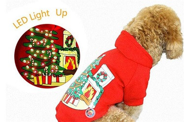 LED pet fleece hoodies /pet Christmas clothes