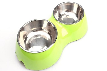 New Styles Red Melamine Double Bowl with Stainless Steel Bowl for Dog