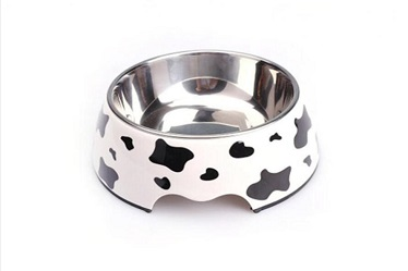Cow Pattern Melamine&Stainless Steel Pet Dog Food Bowl