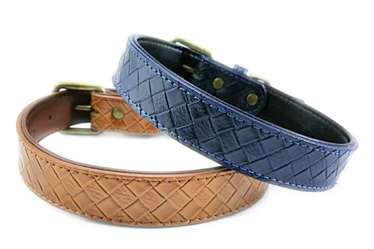Imitation weaving Pet leather collars for medium large dogs